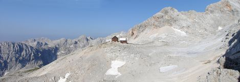 Mountain hut Dom Planika. Mountain hut Dom Planika in Julian Alps near the summit of Triglav Stock Image