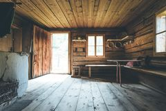 Free Mountain Hut In Austria: Rustic Wooden Interior Royalty Free Stock Photos - 148224868