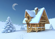 Mountain Hut In The Winter Scene Royalty Free Stock Photo