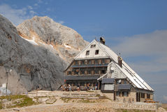 Mountain hut Kredarica,slovenia Stock Photo