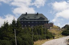 Mountain hut in the Krkonose. Beautiful mountains in Poland during summer Royalty Free Stock Photo