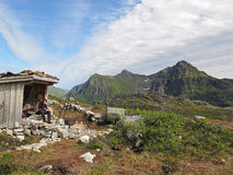 Mountain hut on Lofoten islands Stock Photo