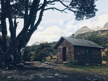 Mountain Hut. Lonely cabin in tierra del fuego, argentina Stock Photo