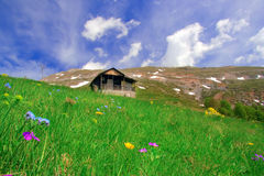 Mountain hut and a meadow in Macedonia Stock Photos