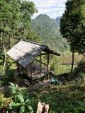Mountain hut. In mountainous forest region Stock Photo