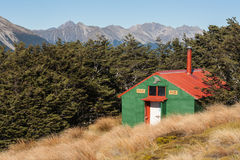 Mountain hut in Nelson Lakes National Park Stock Image