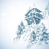 Mountain hut. Pine tree forest, winter landscape Stock Photos