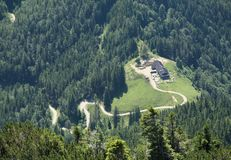 Mountain hut in planina Prevala in Karawanken mountains Royalty Free Stock Photography