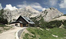 Mountain hut Postarski dom. Is in the Vrsic saddle in Triglav national park Stock Photography