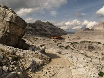 Mountain hut in the Sesto Dolomites Royalty Free Stock Images