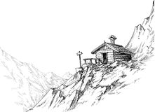 Mountain hut sketch Stock Images