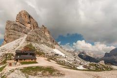 Mountain hut at ski resort in Dolomites Royalty Free Stock Image