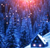 Mountain hut on the slopes. Behind dark blue winter spruce forest. Stock Images