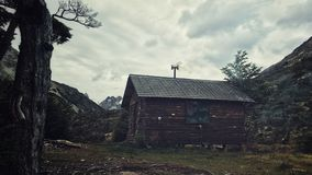 Mountain hut. Small refuge in argentinian mountains. Ushuaia, patagonia, tierra del fuego Royalty Free Stock Image