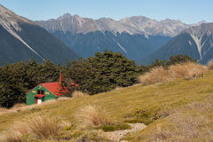 Mountain hut in Southern Alps. New Zealand Stock Image