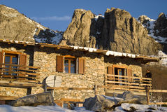 The mountain hut at sunrise Stock Images