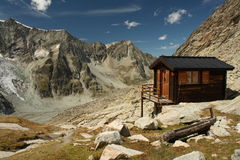 Mountain hut in Swiss Alps Stock Image