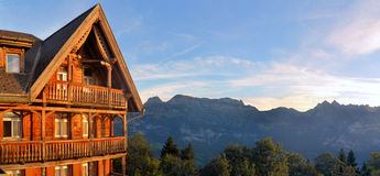 Mountain hut in the Swiss alps Royalty Free Stock Image