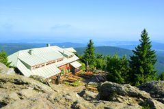 Mountain hut on the top of mount Grosser Osser in National park Bavarian forest, Germany. Royalty Free Stock Photos