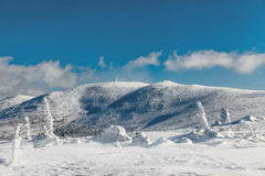 Mountain hut on the top of Snow Cirques in Poland. Royalty Free Stock Images