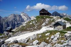 Mountain hut. On the Triglav mount in Slovenia Stock Photo