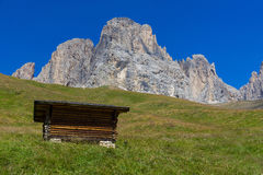 Mountain hut under the Langkofel Stock Photography
