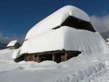 Mountain hut under the snow Royalty Free Stock Photo