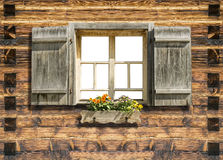 Mountain hut window isolated Royalty Free Stock Images
