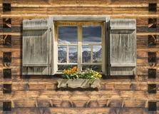Mountain hut window summer Royalty Free Stock Image