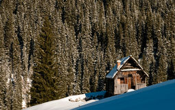 Mountain hut in winter. With forest in the background stock photography