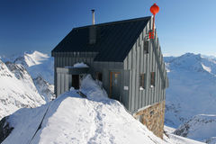 Mountain hut in winter Royalty Free Stock Images