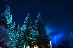 Mountain hut in winter evening scene Royalty Free Stock Image