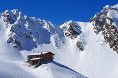 Mountain hut in the winter Stock Image