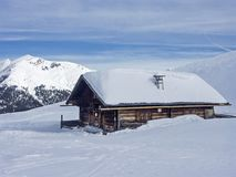 Mountain hut in winter Royalty Free Stock Photos