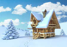 Mountain hut in the winter scene. 3d illustration Royalty Free Stock Photos