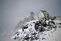 Mountain hut, winter storm Royalty Free Stock Photo