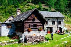 Mountain village huts, Alpe Devero, Italy. Mountain huts, Alpe Devero, Italy Royalty Free Stock Photography