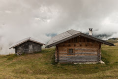 Mountain huts in Dolomites Stock Photos