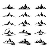 Mountain icon clipart set. Mountain icon set, in black color, isolated from background Stock Image