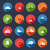 Mountain Icons Flat Royalty Free Stock Images