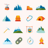 Mountain icons flat Stock Photos