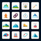 Mountain icons flat Stock Photo