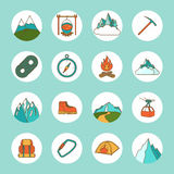 Mountain Icons Flat Stock Photography