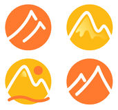 Mountain icons set Stock Photo