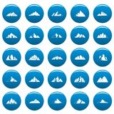 Mountain vector icons set blue, simple style. Mountain icons set blue. Simple illustration of 25 mountain vector icons for web Stock Photography