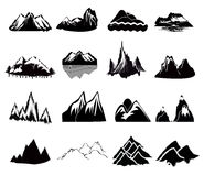 Mountain Icons. Set of different mountain icons in black vector illustration