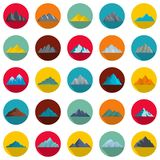 Mountain icons set, flat style. Mountain icons set. Flat illustration of 25 mountain vector icons circle isolated on white Stock Photo