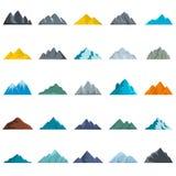 Mountain icons set, flat style. Mountain icons set. Flat illustration of 25 mountain vector icons isolated on white background Royalty Free Stock Photo
