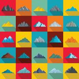 Mountain icons set, flat style. Mountain icons set. Flat illustration of 25 mountain vector icons for web Stock Images