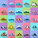 Mountain icons set, flat style. Mountain icons set. Flat illustration of 25 mountain vector icons for web Royalty Free Stock Photos